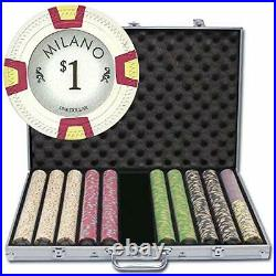 1,000 Ct Milano Poker Set 10g Casino Clay Chips with Aluminum Case, Playing