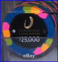 10 $25,000 Horseshoe Cleveland Paulson Poker Chips Primary NEW REAL CLAY CHIP