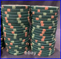 100 Green $25 Paulson Top Hat & Cane Clay Casino Poker Chips. Multiple Available