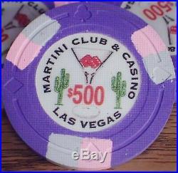 100 Paulson Martini Club & Casino $500 Clay Poker Chips Custom Made Unplayed
