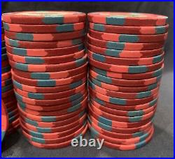 100 Red $5 Paulson Top Hat & Cane Clay Casino Poker Chips. Multiple Available