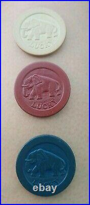 100 Vintage Antique Lucky Elephant Clay Embossed Poker Chip Good Luck Token