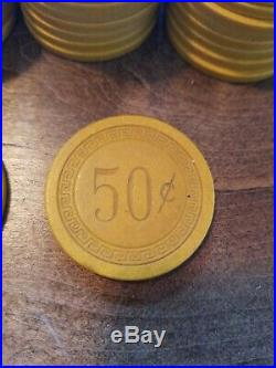 100 Vintage GBCH Monogram Clay Poker Chips 50 Cent Yellow