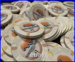 100 White $1 Paulson Top Hat & Cane Clay Casino Poker Chips. Multiple Available