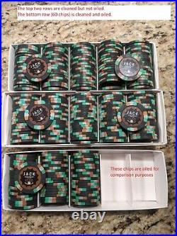 100 x Jack Cincinnati $100 Real Paulson Clay Poker Chips Reverse Hat Cane