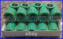 100 x Jack Cincinnati $25 Real Paulson Clay Poker Chips Reverse Hat Cane