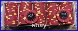 100 x Jack Cincinnati $5 Real Paulson Clay Poker Chips Reverse Hat Cane