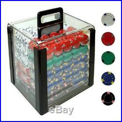 1000 Pro Clay Casino Poker Chips w Acrylic Carrier ID 19026