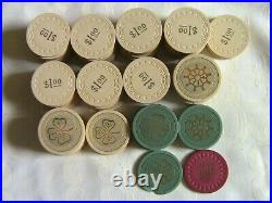 106 Vintage Poker Chips. Clay Please see pictures and list