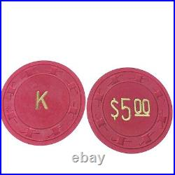 1200 Paulson Poker Chips Top Hat Cane Clay K Gold Embossed Vintage Rare 10438