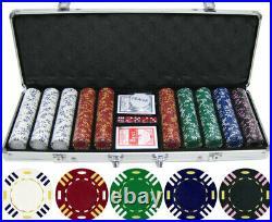 13.5g 500pc Triple Striped Clay Poker Chip Set