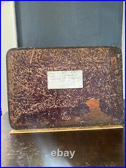 1930s Clay Poker Chip Set Oak Wood Carrying Box Brass Handle WithCard Decks ZODIAC