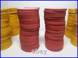 198 Vintage Clay Poker Chips Japanese Tomoe Symbols Red And Yellow