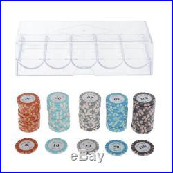 200Pieces Pro Poker Chips Set Casino Token Family Games Accessory 4cm Dia