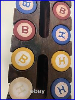 216 Antique Vintage CLay Poker Chips Monogrammed Inlaid B&H 4 Colors & Holder