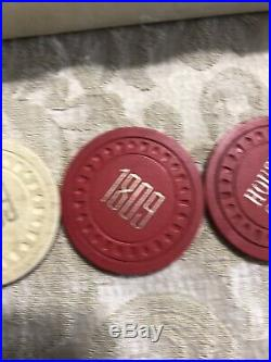 239 Vintage Embossed Clay POKER CHIPS from with box