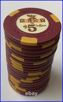 300 HOLIDAY IN RENO Casino Chips Rare Set H-mold $5s and $25s Poker, Clay