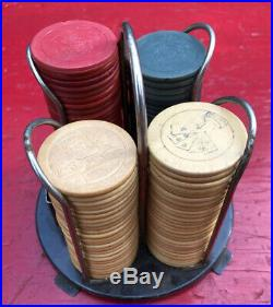 30s 40s Antique Clay Poker Casino Chips Bulldog Cards Stop Monkeying Caddy Vtg