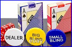 320 Piece Pro Poker Clay Poker Set 2X Plastic Cards with Cutting Cards
