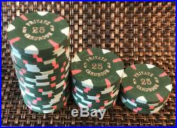 (35) Green Paulson Private Cardroom Clay Poker Chips. 25 Denomination