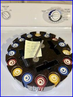386 Vintage Clay Poker Chips Blue Red Yellow & White Moon & Star Antique Holder