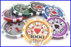 500 14g Real Clay High Roller Poker Chips with Case