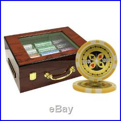 500 14g Ultimate Clay Poker Chips Set High Gloss Customized Wood Case