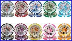 500 Ben Franklin 14g Clay Poker Chips Set with Black Aluminum Case Pick Chips