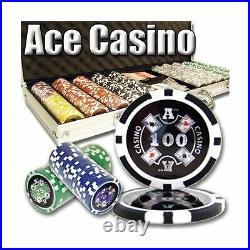 500 Count Ace Casino Poker Set 14 Gram Clay Composite Chips with Aluminum C