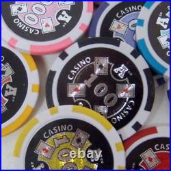 500 Count Ace Casino Poker Set 14 Gram Clay Composite Chips with Aluminum Case