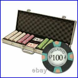 500 Count Milano Poker Set 10 Gram Premium Casino Grade Clay Chips with Alumi