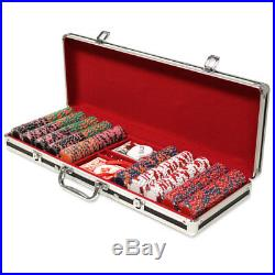 500 Crown & Dice 14g Clay Poker Chips Set with Black Aluminum Case Pick Chips
