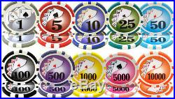 500 Yin Yang 13.5 Gram Casino Grade Clay Composite Poker Chips Blk Mahogany Case