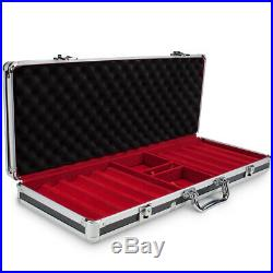 500ct Clay Gaming Poker Chips Casino Card Games Black Aluminum Carrying Case