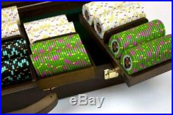 500ct. Rock & Roll Clay Composite 13.5g Poker Chip Set in Walnut Wooden Case