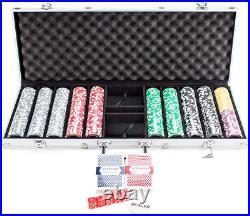 500pcs Las Vegas Poker Club Set 14g Clay Composite Chips with Aluminum Case PRO