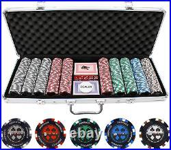 500pcs PRO Las Vegas Poker Club Set 14g Clay Composite Chips with Aluminum Case