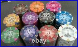 600 clay poker chips Triangle elite 14 gram choice of 11 denominations