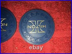 86 Vintage Las Vegas Hilton Casino Hhr Mold Blue Poker Casino Roulette Chips