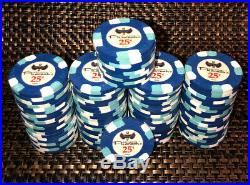 (90) Blue Paulson Pharaohs 25¢ Clay Poker Chips