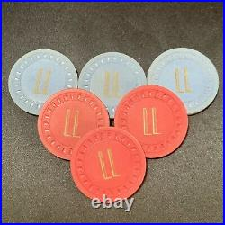 92 ANTIQUE Clay ILLEGAL GAMBLING Poker Chips with SAN FRANCISCO Rack LOW START $