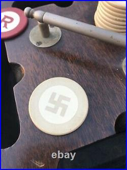 Antique Clay Good Luck Swastika Poker Chips And Holder Not Nazi Pre WW2