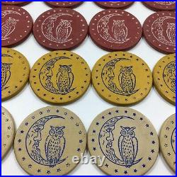 Antique Clay Poker Chips Owl & Crescent Moon Lot Of 38 ca. 1900