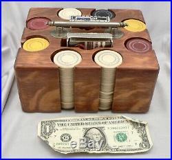 Antique Clay Poker Chips Set Oak Carrier Box 2 Decks Playing Card Holder Vintage