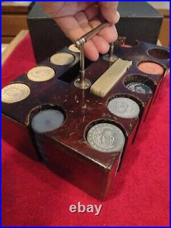 Antique Poker Chip Card Set Wood Carrying Case WithCrescent Moon & Owl Clay Chips