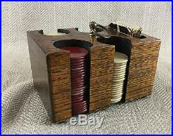 Antique Poker Chip Set Caddy Gambling Old Clay Tokens Gaming Caddy