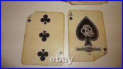 Antique Poker Set Box Velvet Enamel with Owl Clay Chips & 2 Complete Decks Cards