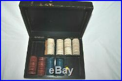Antique SET of 181 Clay Golfer Embossed Poker Chips Red Blue White withBOX