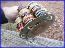 Antique Vintage Clay Gambling Casino Poker Chips & holder 170 1 1/4 chips