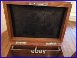 Antique Vintage Clay Poker Chips in Inlaid Oak Carrying Case